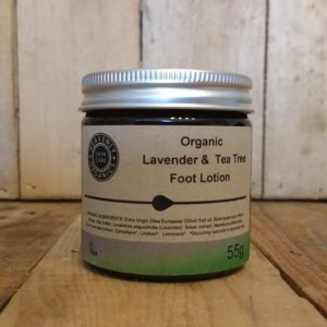 Lavender and tea tree foot lotion in brown glass jar with aluminium lid