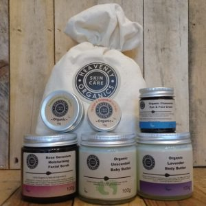 Heavenly Organics Skin Care Mother & Baby Gift Set with organic products and organic cotton bag