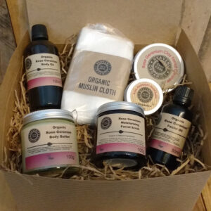 Heavenly Organics Skin Care Rose Geranium Christmas Gift set in a recycled cardboard gift box
