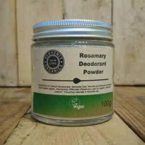Heavenly Organics Skin Care Deodorant Powder in clear glass jar with aluminium lid