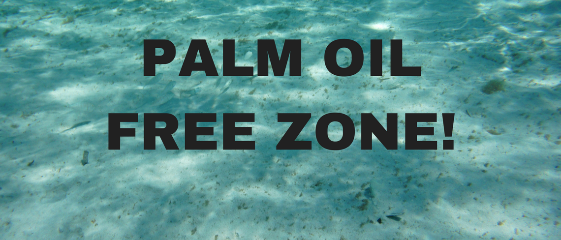 Heavenly Organics Skin Care Palm slider stating Palm Oil Free Zone!